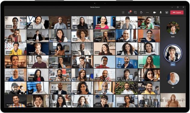 Microsoft Teams 1000 kullanıcıya kadar video konferans sağlıyor.