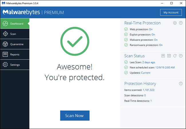 Antivirüs Yeterli Değil mi: Malwarebytes da Kullanın.