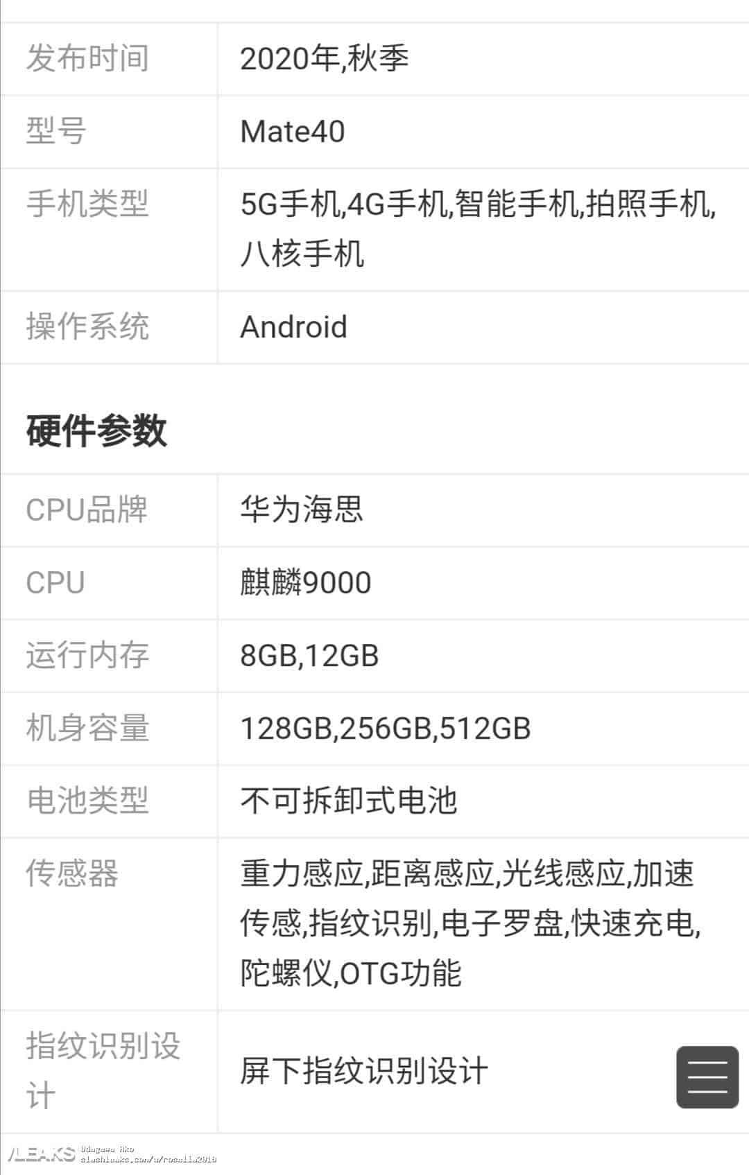 Huawei'nin Amiral Gemisi Serisi Mate 40'ın Özellikleri Sızdırıldı.