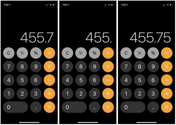Hesap Makinesi'nde sayıları düzeltmek için kaydırın