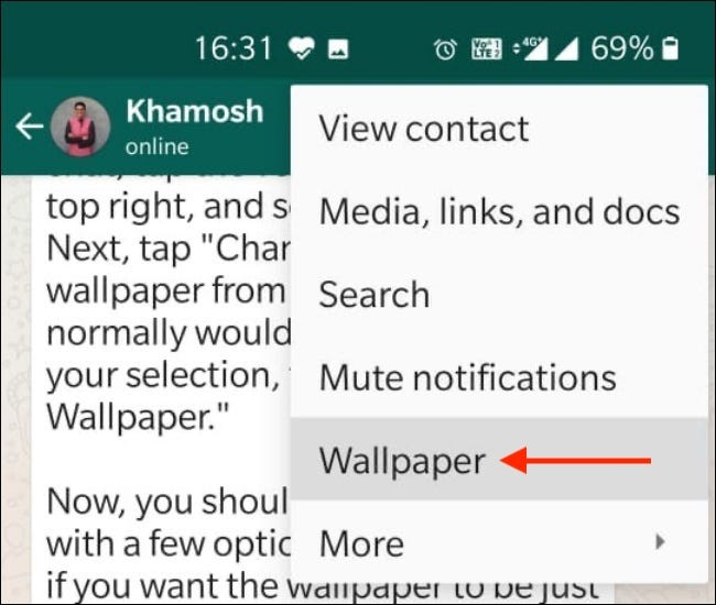 Android için WhatsApp'ta Sohbetler için Özel Duvar Kağıdı Ayarlayın