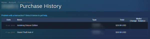 Steam satın alma geçmişi