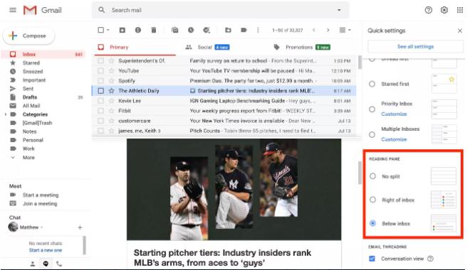 3. Outlook benzeri bir görünüm için okuma bölmesi