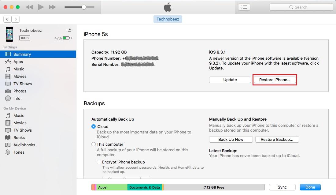 İTunes'u kullanarak iPhone'unuzu fabrika ayarlarına geri yükleyin